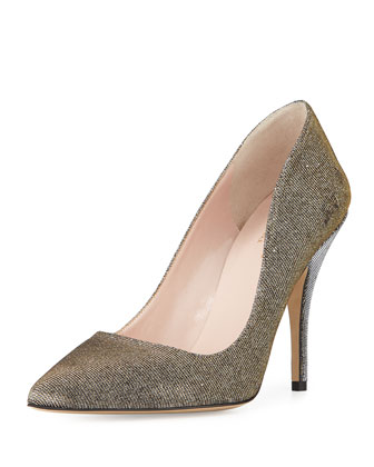 licorice metallic fabric pump, bronze
