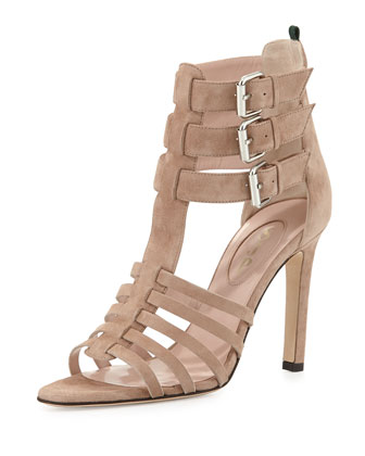 Lola Strappy Suede Sandal, Beige