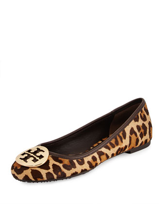 Reva Leopard-Print Fur Logo Flat