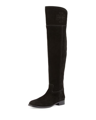 Simone Over-the-Knee Suede Boot, Black