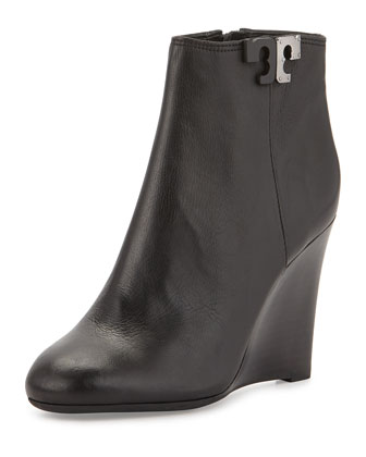 Lowell Leather Wedge Bootie, Black