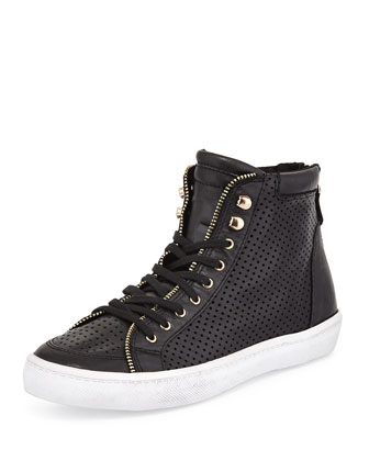 Sandi Perforated Leather High-Top Sneaker, Black