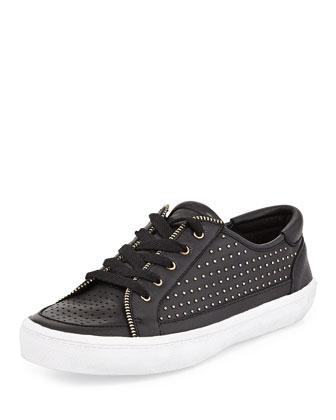Sander Studded Leather Low-Top Sneaker, Black