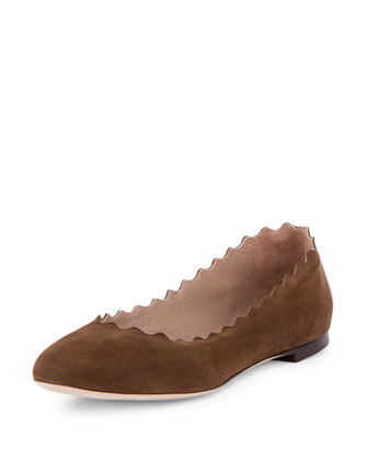 Scalloped Suede Ballerina Flat, Military