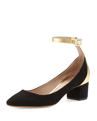 Suede Mirror Ballerina Pump, Black/Gold