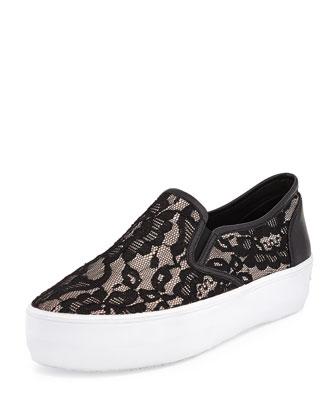 Sloane Lace Slip-On Sneaker, Nude/Black