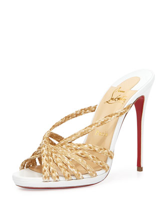 Twist-Front Raffia Red Sole Mule Sandal, Natural/White
