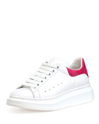Leather Platform Low-Top Sneaker, White/Pink