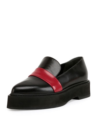 Two-Tone Leather Platform Loafer, Black/Red