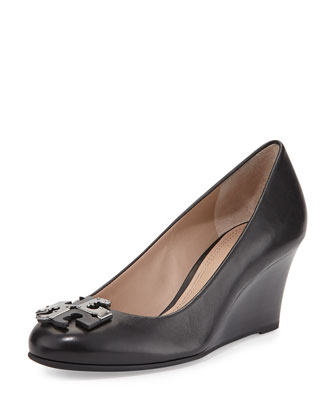 Lowell Leather Wedge Pump, Black