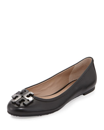 Lowell Leather Logo Ballerina Flat, Black