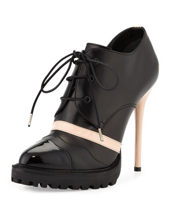 Leather High-Heel Lace-Up Bootie, Black/Teint
