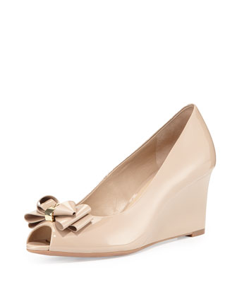 Patent Bow Wedge Pump, Burnt Almond
