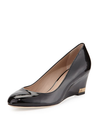 Astoria Patent Wedge Pump, Black
