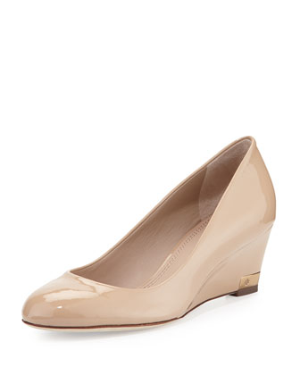 Astoria Patent Wedge Pump, Beige