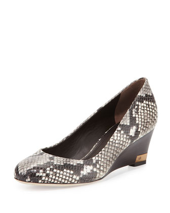 Astoria Snake-Print Wedge Pump, Black/White