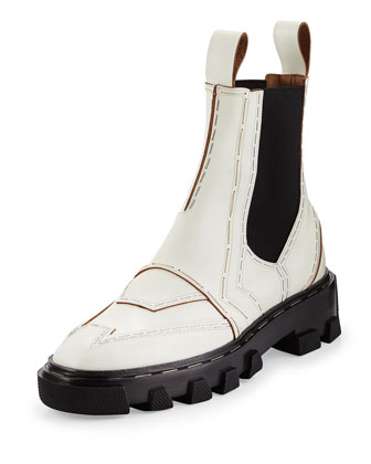 Stapled Leather Chelsea Boot, White