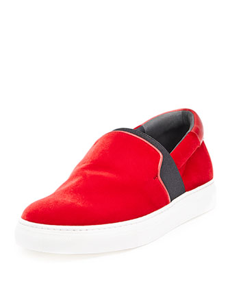 Velour Slip-On Sneaker, Red