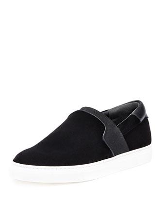 Velour Slip-On Sneaker, Black