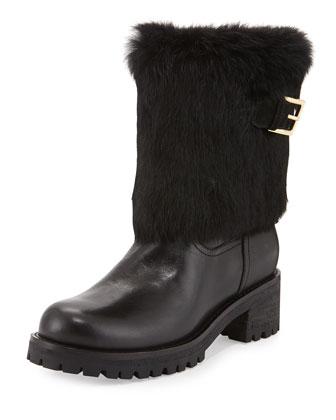Joni Fur-Cuff Moto Boot, Black
