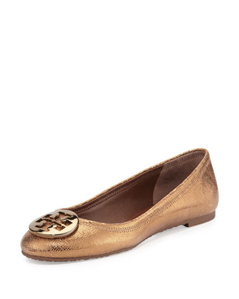 Reva Metallic Leather Ballet Flat, Copper