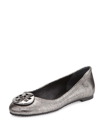 Reva Metallic Leather Ballet Flat, Pewter