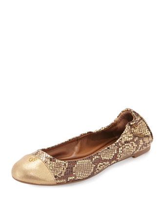 York Metallic Snake-Print Ballet Flat, Gold