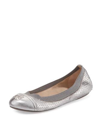 Gabby Metallic Python-Print Ballet Flat, Pewter