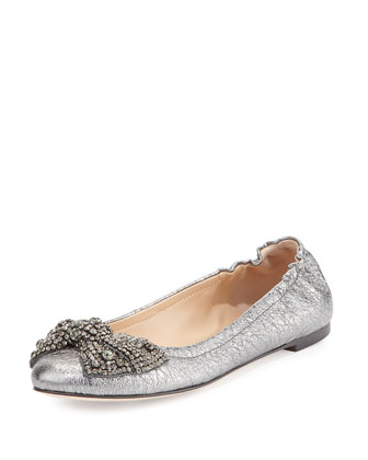 Bonneville Metallic Leather Ballet Flat, Pewter