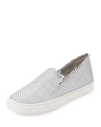 Mazzy Woven Leather Skate Sneaker, Silver