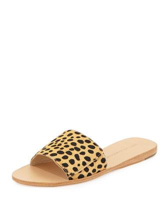 Sibi Calf-Hair Sandal Slide, Cheetah