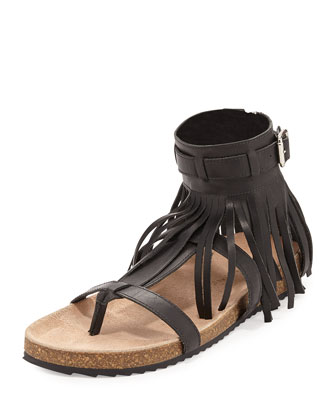 Perla Fringe-Detail Gladiator Sandal, Black