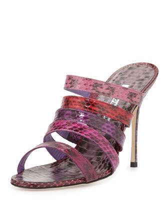 Sifi Strappy Snakeskin Sandal, Purple/Multi
