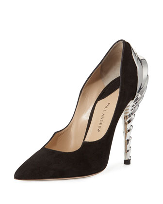 Suede Chrysler Heel Pump, Black
