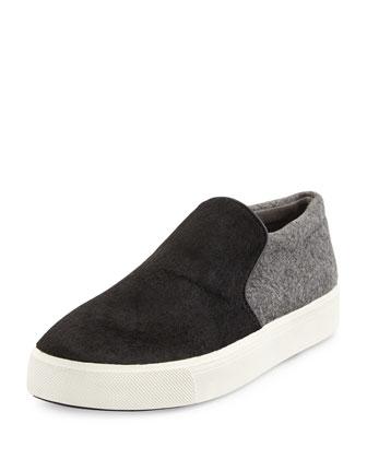 Brea Calf-Hair Skate Sneaker, Black/Ceramic