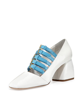 Two-Tone Patent Buckle Pump, White/Sky Blue (Bianco/Celeste)