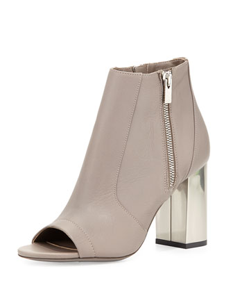 Faber Open-Toe Leather Bootie, New Stone