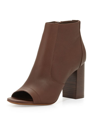 Fionn Open-Toe Leather Bootie, Chestnut