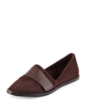 Mason Casual Calf-Hair Flat, Fig