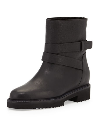 Cagney Shearling Fur-Lined Moto Boot, Black
