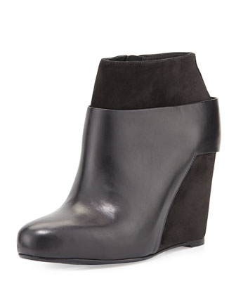 Garren Leather Wedge Ankle Bootie, Black