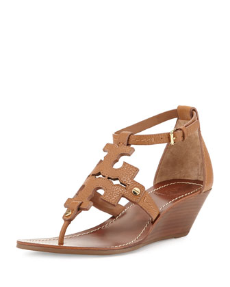 Chandler Logo Wedge Sandal, Nude