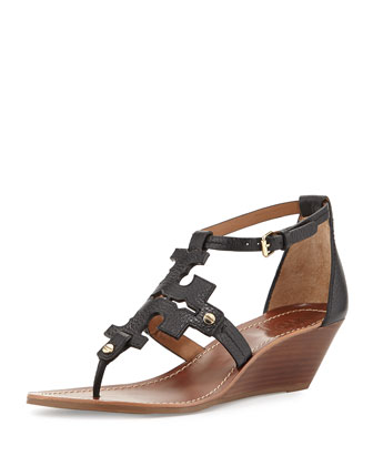Chandler Logo Wedge Sandal, Black
