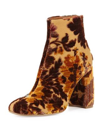 Floral-Print Velvet Ankle Bootie, Mustard/Multi