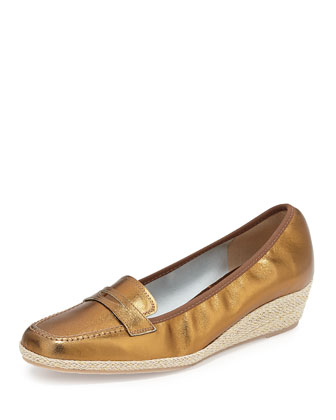 Meryl Metallic Loafer Wedge, Bronze