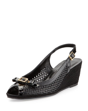 Milene Laser-Cut Leather Sandal, Black