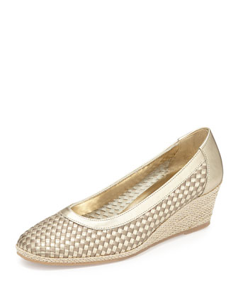 Mettie Metallic Woven Wedge, Yute