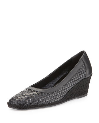 Mettie Woven Wedge Pump, Black