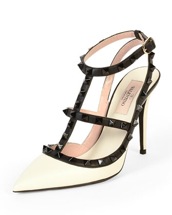 Rockstud Colorblock Leather Sandal, Ivory/Black