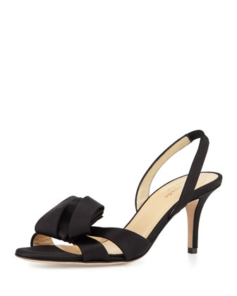 madison slingback satin sandal, black